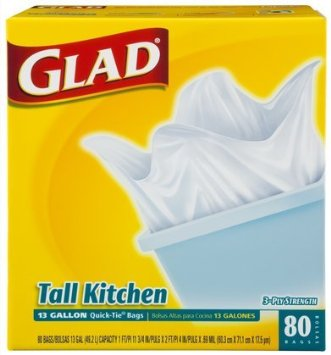 Glad Quick Tie Tall Kitchen White 13 gl 4/ 80 ct