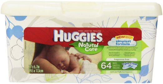 Huggies Baby Wipes Tub Nature Care Fragrance Free 4/ 64 ct