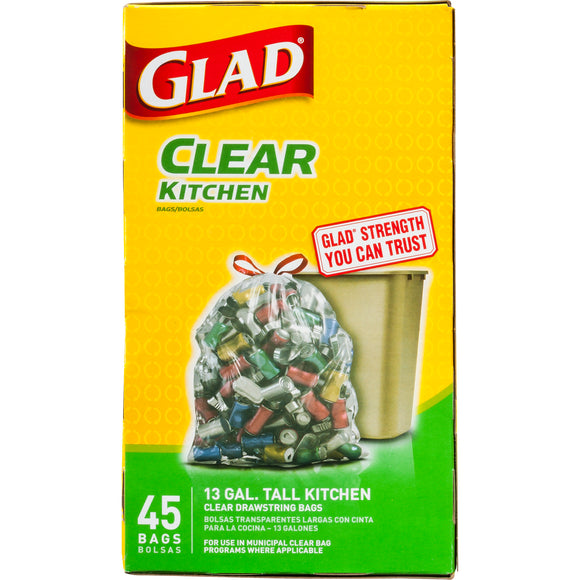 Glad Drawstring Recycling Tall Kitchen Clear 13gl 4/ 45ct