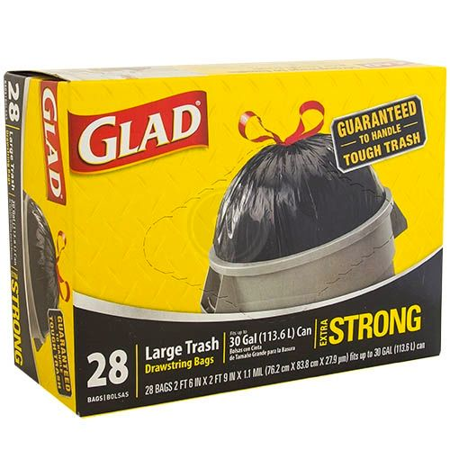 Glad Drawstring Trash Black 30gl 6/ 28ct