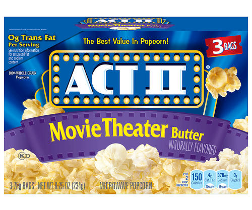 Act 2 Microwave Popcorn Movie Theater Butter 3pk 12/ 8.25 oz
