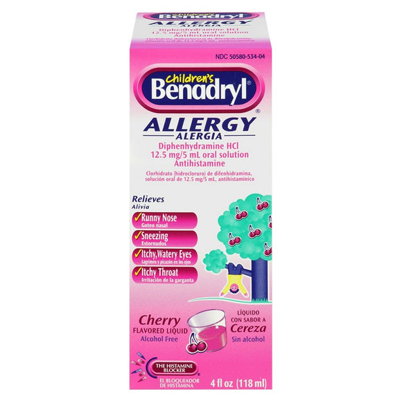Benadryl Children's Allergy Liquid Cherry 4/ 4 oz