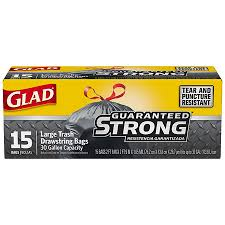 Glad Drawstring Trash Black 30gl 12/15ct