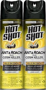 Hot Shot Roach & Ant Killer Plus Germ Killer Lemon Aerosol Twin Pack 6/ 17.5oz