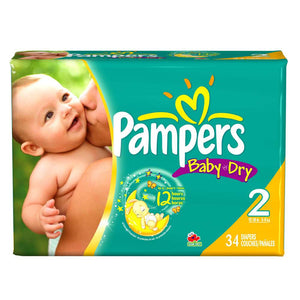Pampers Diapers Baby Dry size #2/ 4/ 34 ct