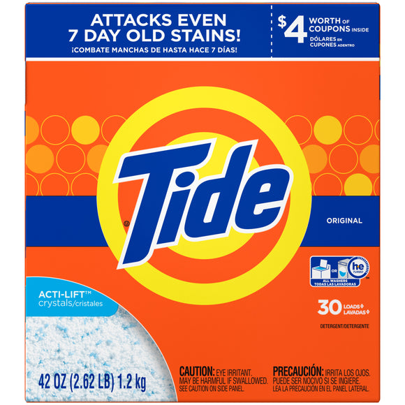 Tide Powder Original HE 30ld 6/ 42 oz