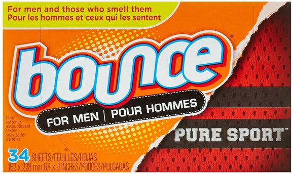 Bounce Fabric Sheets For Men Pure Sport 12/ 34 ct