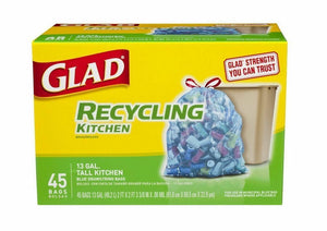 Glad Drawstring Recycling Tall Kitchen Translucent Blue 13gl 4/ 45ct