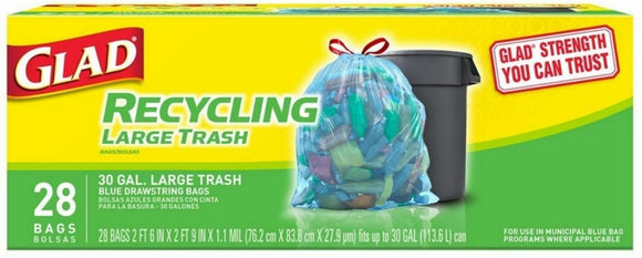 Glad Drawstring Recycling Trash Translucent Blue 30gl 4/ 28ct