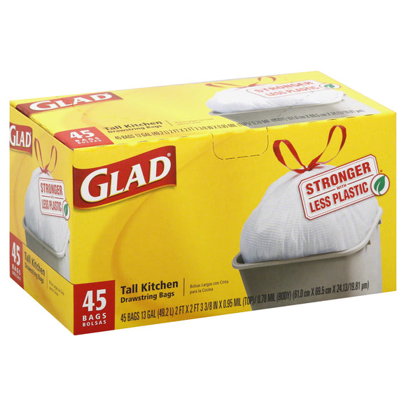 Glad Drawstring Tall Kitchen White 13gl 6/ 45ct
