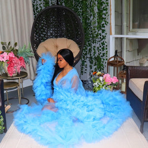 Sky Blue Tulle Robe