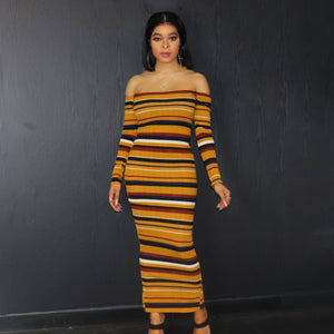 Havana Stripe Bodycon Off Shoulder Dress