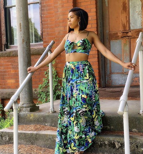 Green Forest Print Skirt Set - Everything Girls Like Boutique