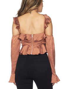 Jackie Polka Dot Ruffle Crop Top (see other color) - Everything Girls Like Boutique
