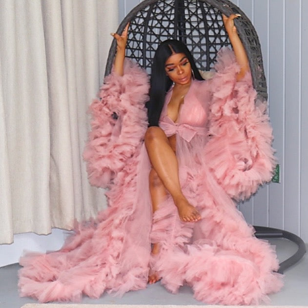 Rose Pink Tulle Robe