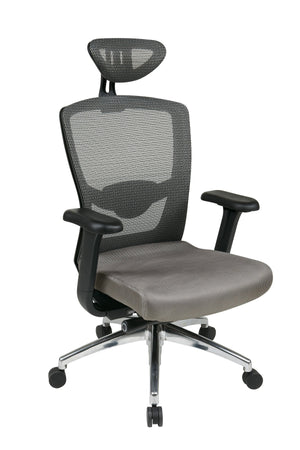 Grey ProGrid High Back Chair with Headrest