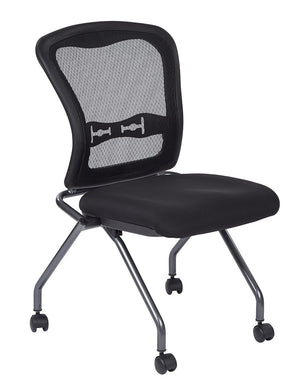 Deluxe Armless Folding Chair With ProGrid Back (2-PK)