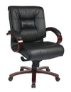 Deluxe Mid Back Black Executive Leather Chair