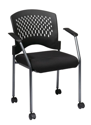 Titanium Finish Rolling Black Visitors Chair