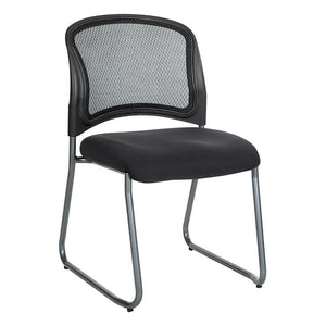 Titanium Finish Black Visitors Chair with ProGrid Back and Sled Base