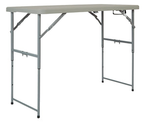 4' Long- Height Adjustable Fold in Half Resin Multi Purpose Table
