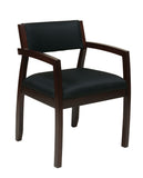 Napa Espresso Guest Chair With Upholstered Back