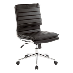 Armless Mid Back Manager's Faux Leather Chair