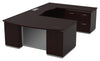 Tuxedo U-Shape w/ Right Bridge + Lateral File Credenza Pedestal 72x114