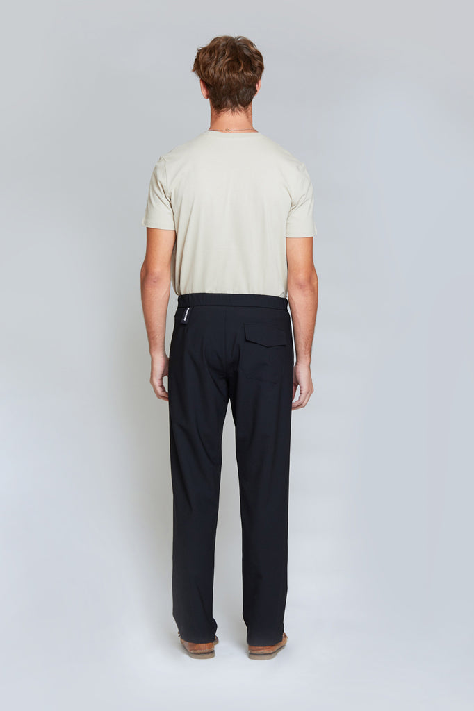 Soft Tailored Wool Trousers | Black