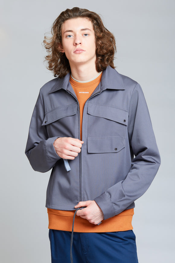 Patch Pocket Blouson Jacket | Melange Grey