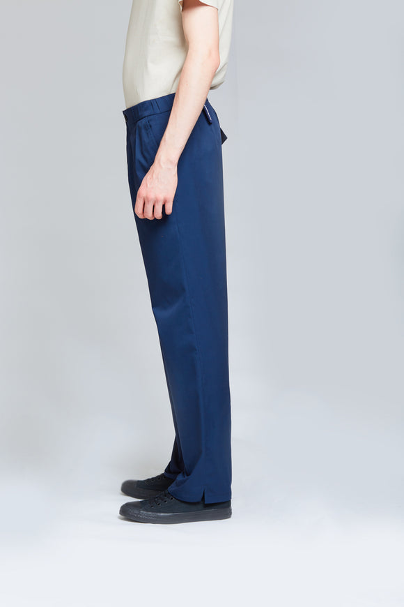 Soft Tailored Cotton Trousers | Midnight Blue