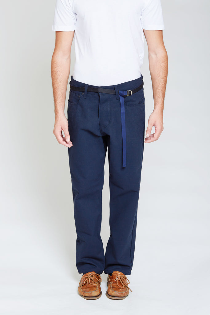 Denim Style Cotton Trousers | Midnight Blue