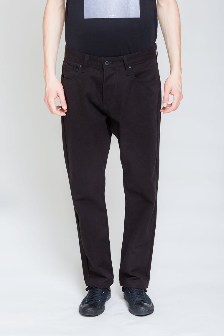 Denim Style Cotton Trousers | Black