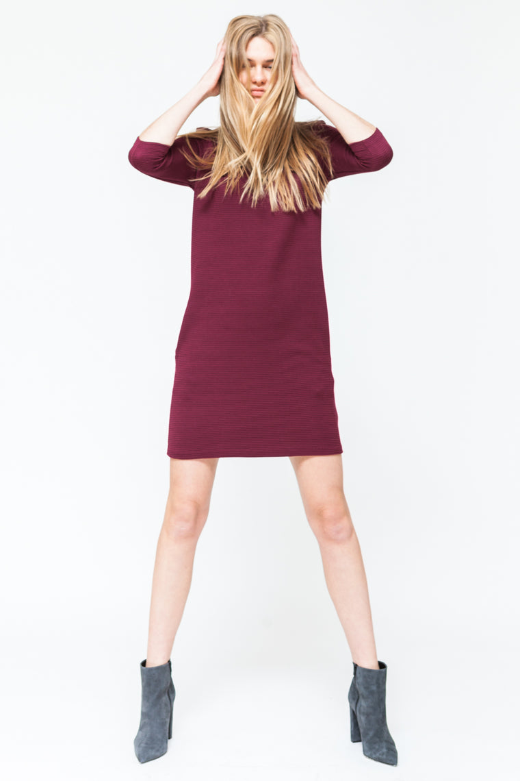 BURGUNDY 3/4 SLEEVE DRESS