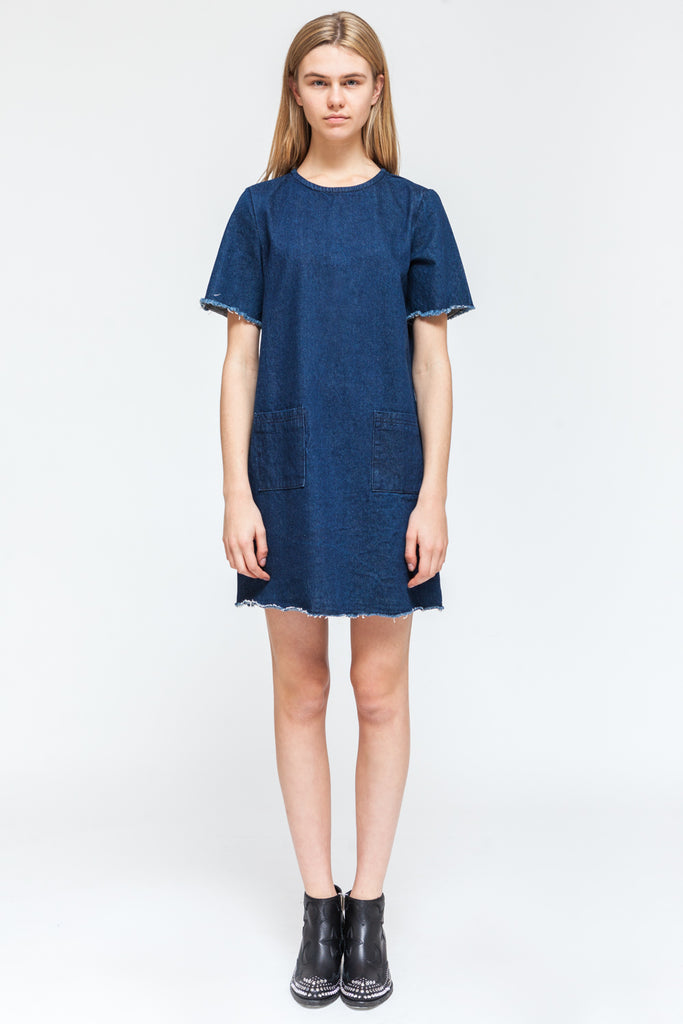 DENIM RAW EDGE DRESS