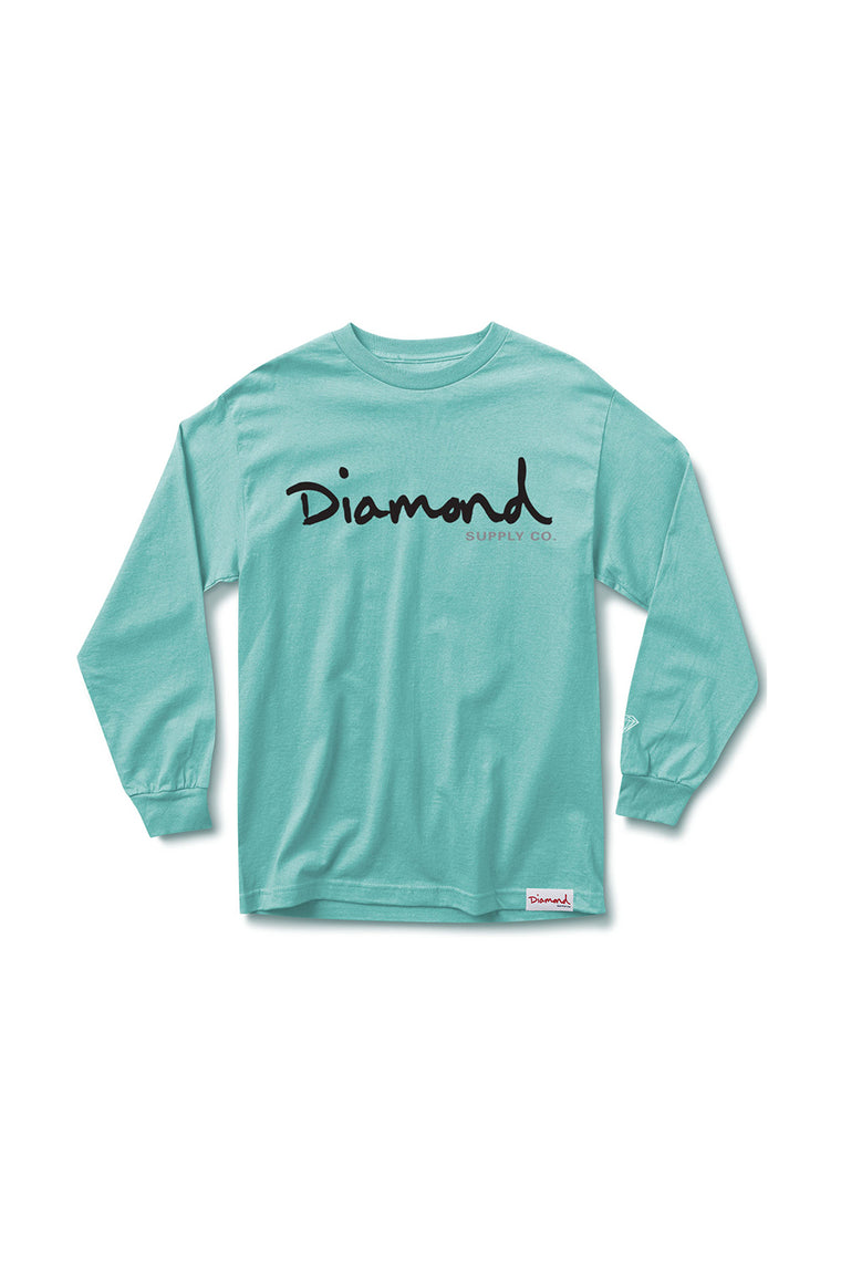 OG SCRIPT LONG SLEEVE T-SHIRT DIAMOND BLUE
