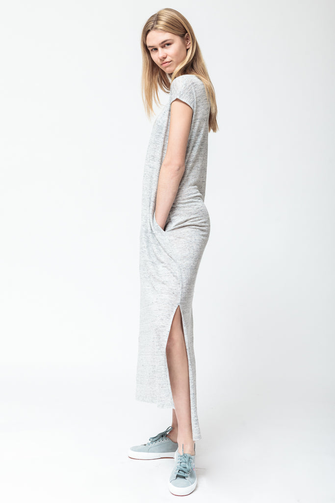 LONG GREY MELANGE DRESS