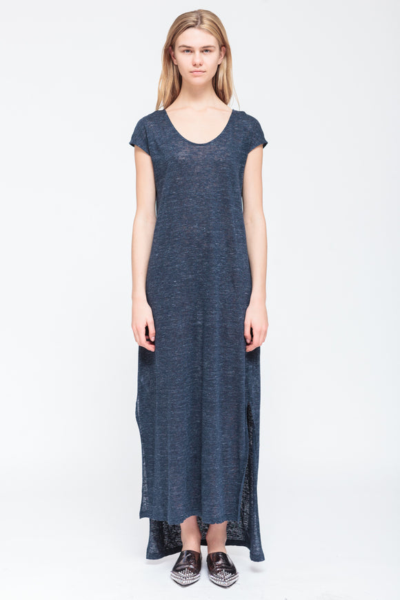 LONG NAVY MELANGE DRESS