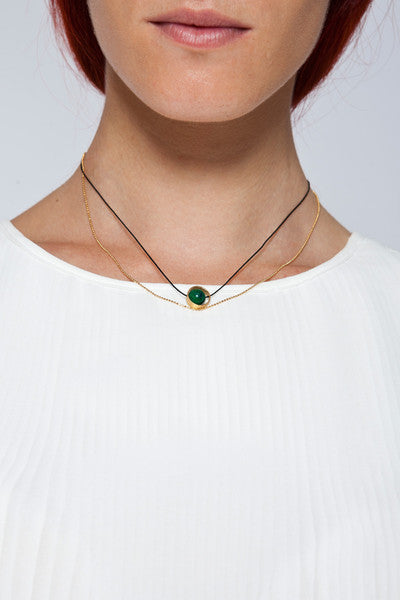 MOUTSATSOS - GOLD CYCLE DU SOLEIL NECKLACE WITH GREEN EARTH - Jewellery - Ozon Boutique