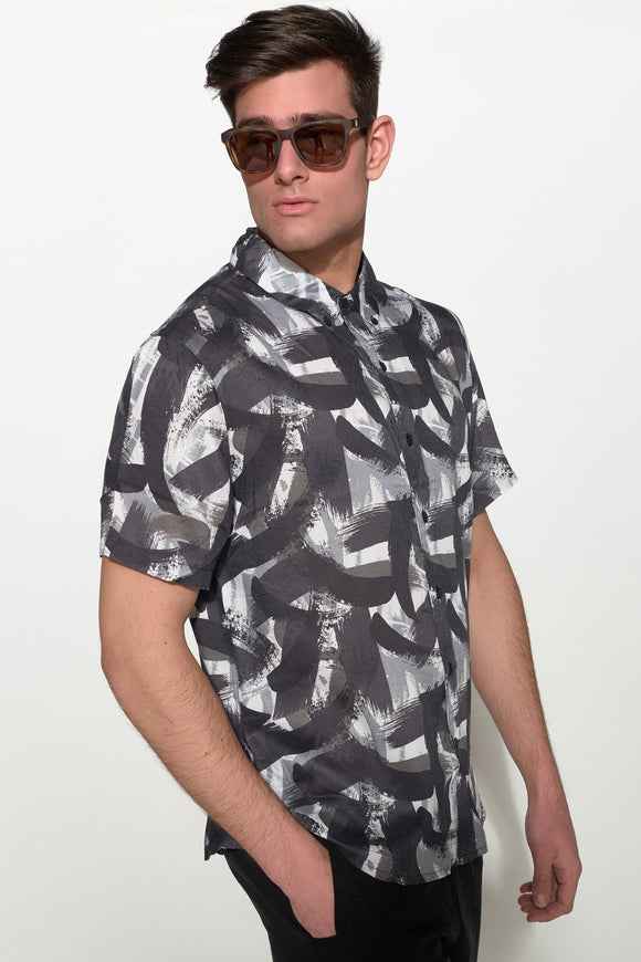 NATIVE YOUTH - PAINTBRUSH PRINT SHIRT - Men Clothing - Ozon Boutique - 1