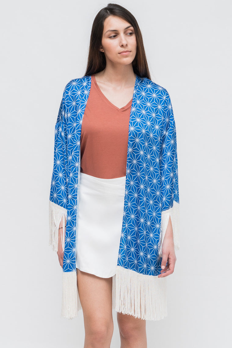 GEOMETRY PATTERNS SATIN KIMONO
