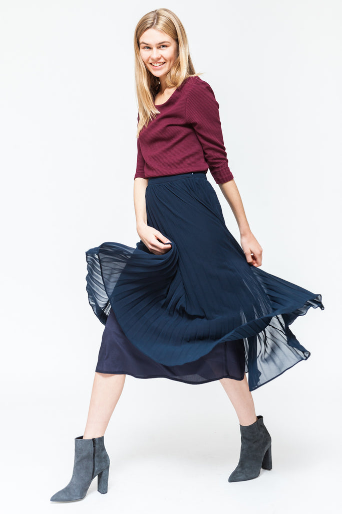 PARISIENNES LONG PLEATED SKIRT NAVY