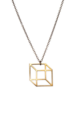 MOODLIKEME - SMALL CUBE NECKLACE GOLD/SILVER - Jewellery - Ozon Boutique - 1