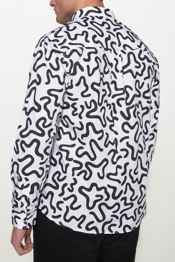 SOULLAND - AMEBA SHIRT – WHITE/BLACK - Men Clothing - Ozon Boutique - 1