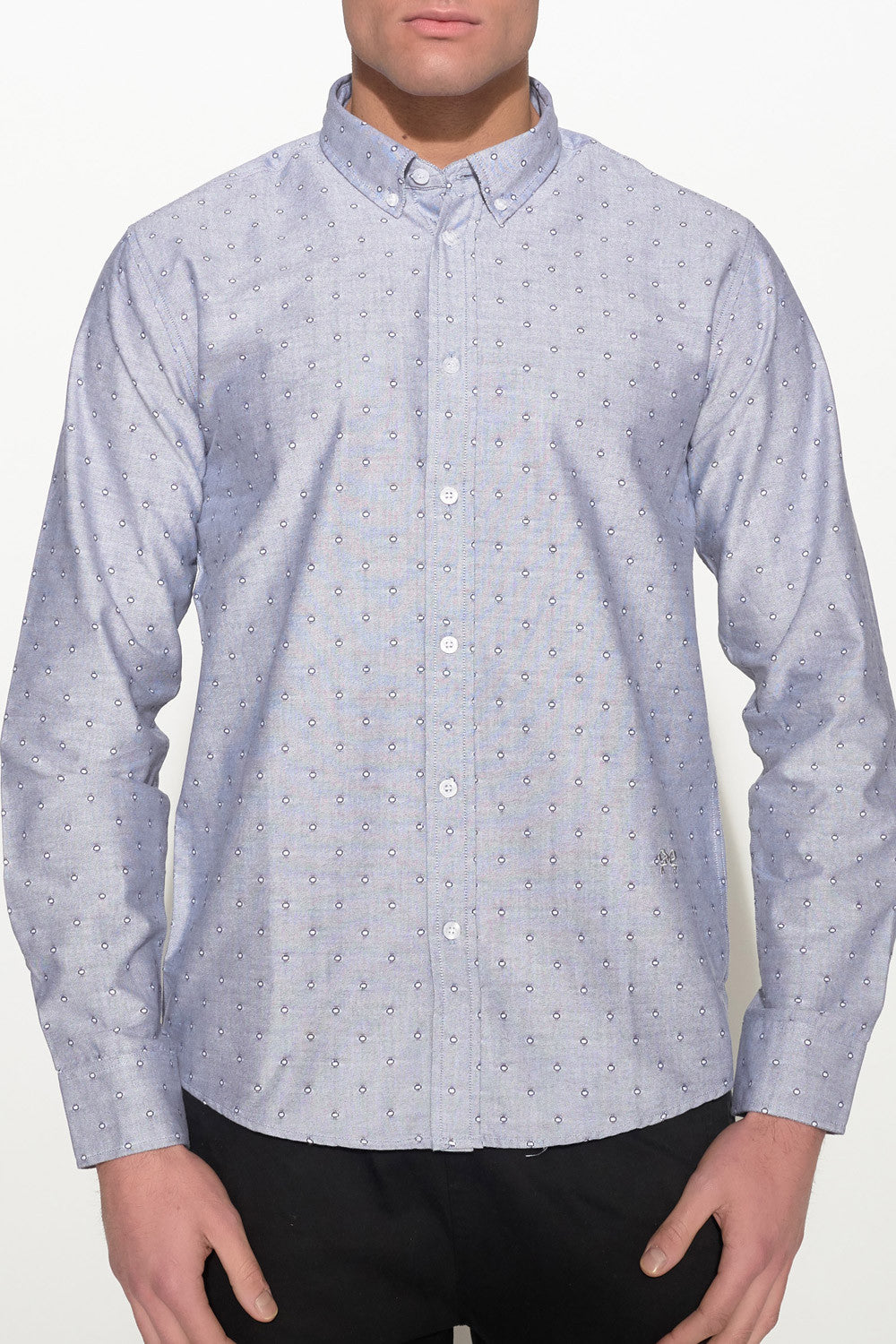 SOULLAND - GOLDSMITH OXFORD SHIRT – GREY W. DOTS - Men Clothing - Ozon Boutique - 3