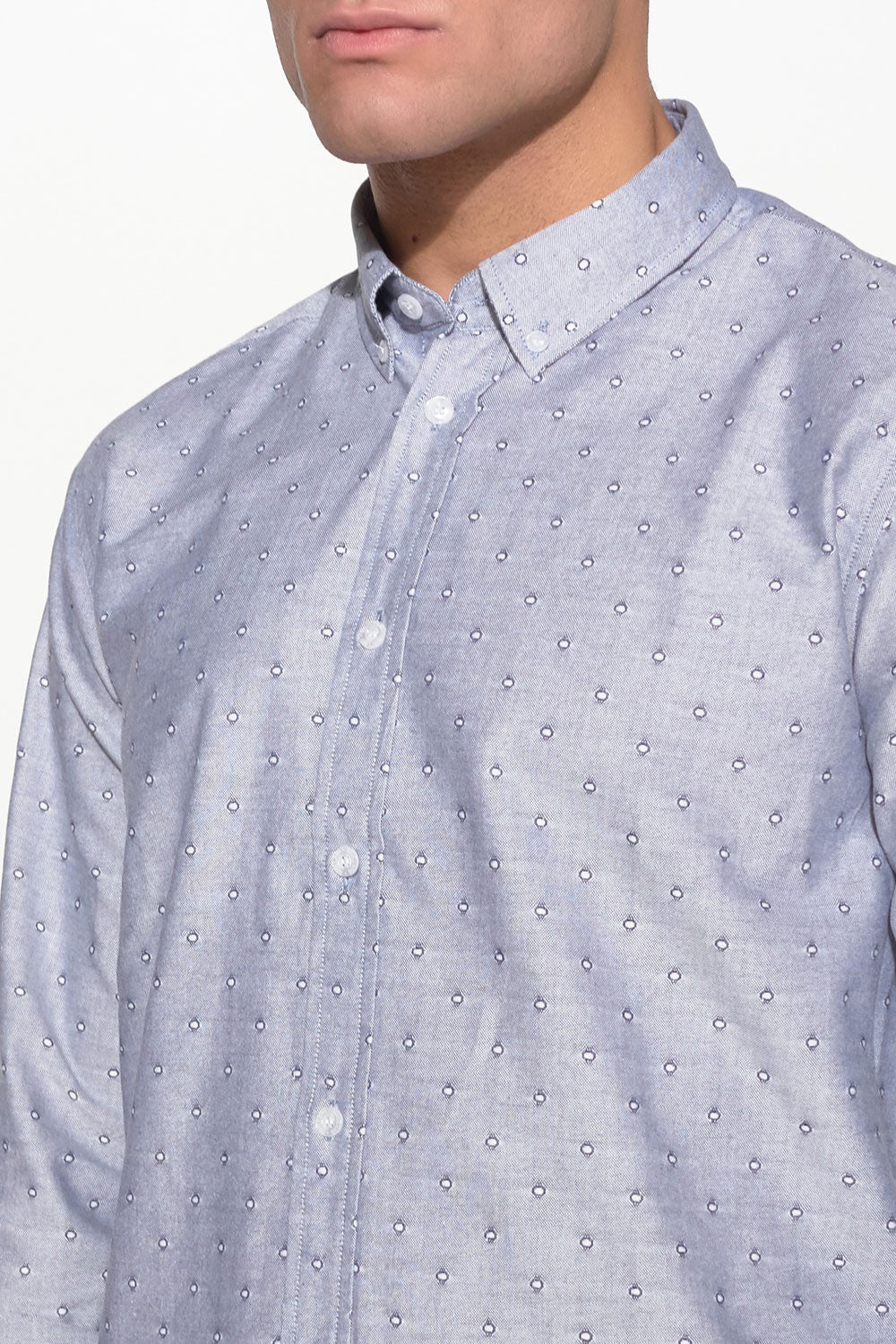 SOULLAND - GOLDSMITH OXFORD SHIRT – GREY W. DOTS - Men Clothing - Ozon Boutique - 4