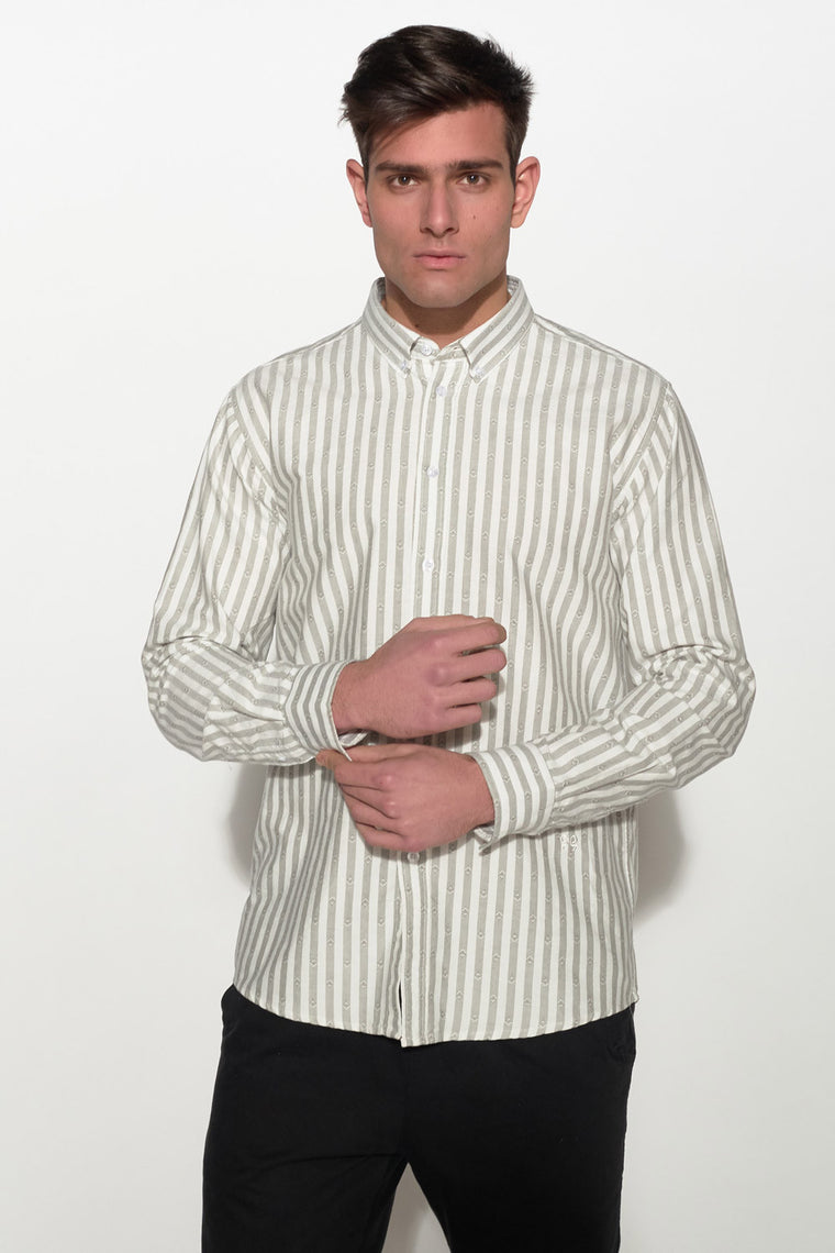 SOULLAND - GOLDSMITH OXFORD SHIRT – WHITE/GREY - Men Clothing - Ozon Boutique - 1