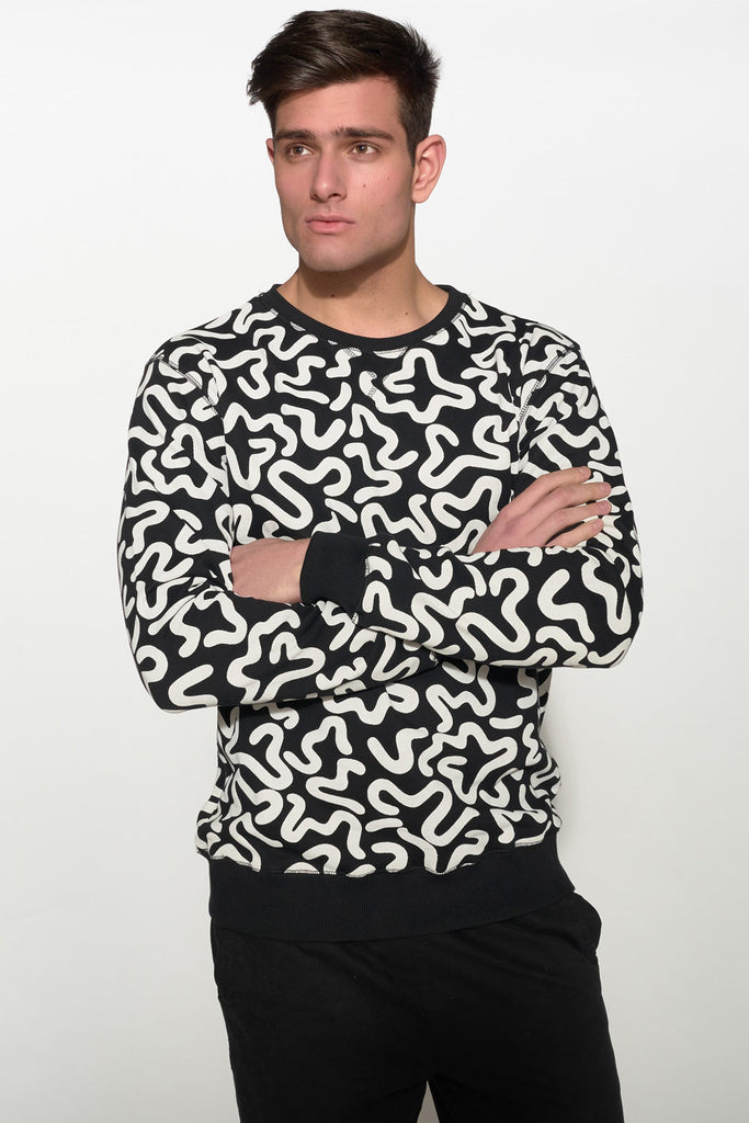 SOULLAND - KEIT SWEATSHIRT – BLACK W. PRINT - Men Clothing - Ozon Boutique - 1