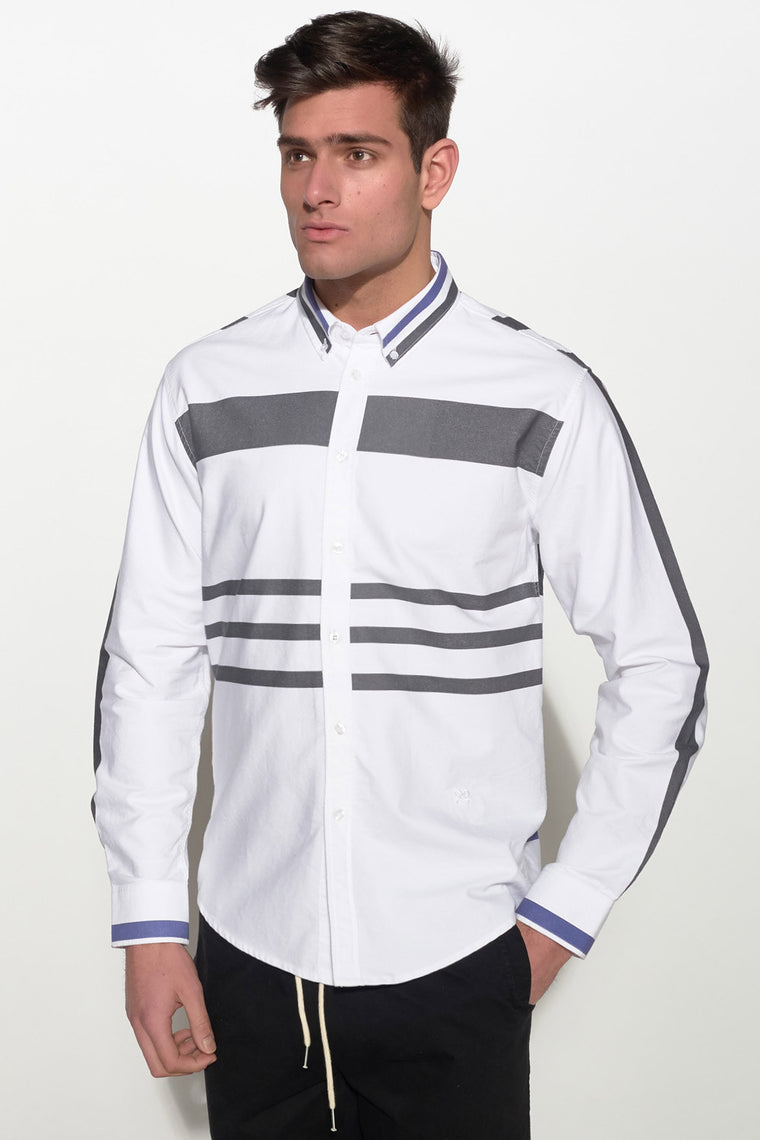 SOULLAND - PARKEN SHIRT – WHITE/BLUE/BLACK - Men Clothing - Ozon Boutique - 1