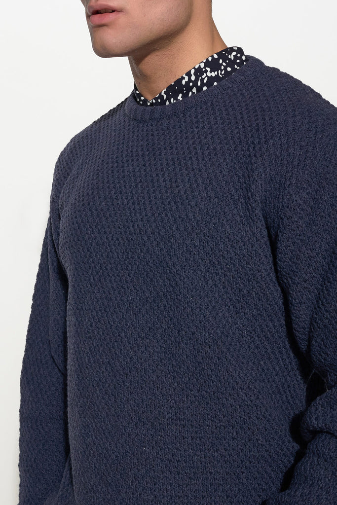 SOULLAND - RICKETTS WOOL KNIT SWEATER – NAVY - Men Clothing - Ozon Boutique - 3